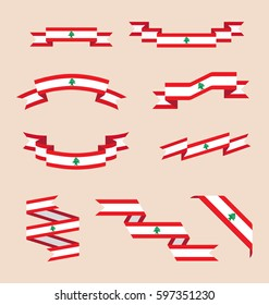 Vector set of scrolled isolated ribbons or banners in colors and with symbol of Lebanese flag.