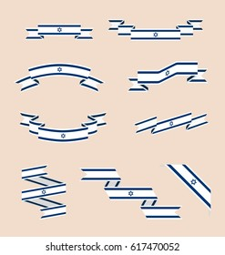 Vector set of scrolled isolated ribbons or banners in colors and with symbol of flag of Israel.