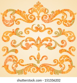 Vector set of scrolls and vignettes in Victorian style. Concept abstract autumn curls. Elements for design. It can be used for decorating of invitations, cards, decoration for bags and clothes.