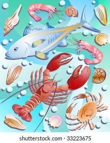 vector set sea animals - crab, fish, lobster, shell, oyster, prawn