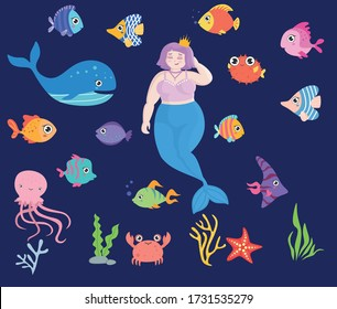 Vector set with sea animals and a  plus size mermaid. Illustration of the underwater world with a plus size mermaid with pink hair.