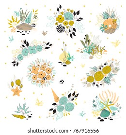 Vector set of sea bouquets. Seaweeds, flowers and shells in arrangements. For greeting cards, weddings, stationery, surface design, scrapbooking. Cute hand drawn style. Part of a large sea collection.