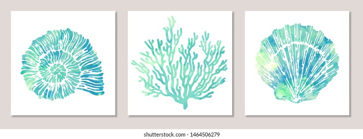 Vector set of sea elements in blue watercolor style: seashells, starfish, coral. Composition of illustrations on wall in white frames