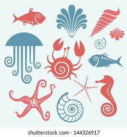 Vector set of sea fauna. Stylized original simple icons of starfish, sea horse, jellyfish, fish, crab, shell, nautilus. Abstract decorative cute illustration. Graphic design elements for print and web