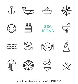 Vector set sea icons. Line design. Black line icons on white background isolated. Collection of fifteen flat icons. Trendy design