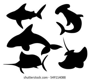 Vector set of sea marine fish and animals silhouette