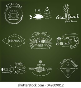 Vector set of seafood logos. Crab, lobster, shrimp, fish, seafood, restaurant logo collection. Seafood poster badges, labels, icons and design elements.