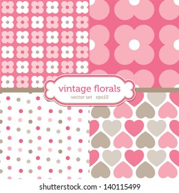 Vector set of seamless background patterns with hearts and retro floral motifs in pink and brown. Good for scrapbook, surface textures. See my folio for similar styles and for JPEG versions.