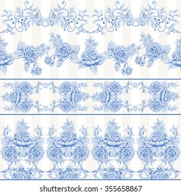 Vector set of seamless borders. Pattern with french garden roses and stripes backdrop.