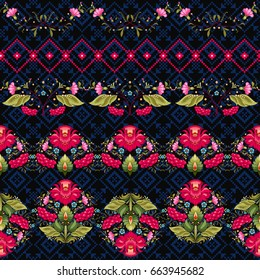 Vector set of seamless borders. Style of Petrykivka painting and pattern similar to embroidery. Ukrainian ornament. Dark backdrop.