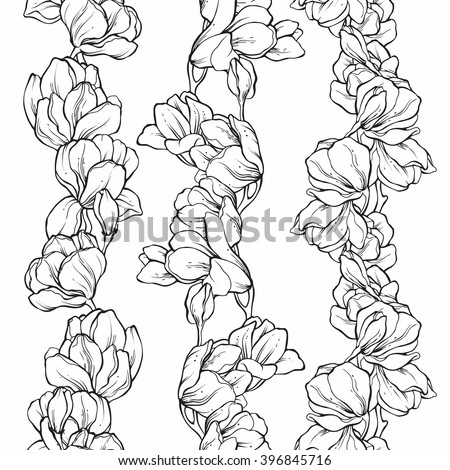 Vector Set Seamless Floral Borders Doodle Stock Vector Royalty Free