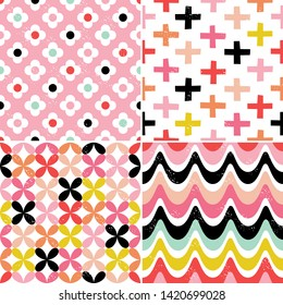 Vector set of seamless floral and geometric backgrounds - flowers, swiss crosses and waves in red, pink, yellow. Bright retro designs for home decor and fashion textiles, wrapping paper, wallpaper.