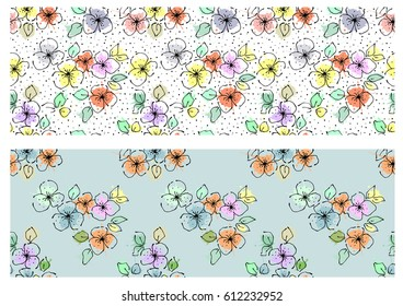 Vector set of seamless floral pattern with flowers, leaves, decorative elements, splash, blots, drop Hand drawn contour lines and strokes Doodle sketch style, graphic vector drawing illustration