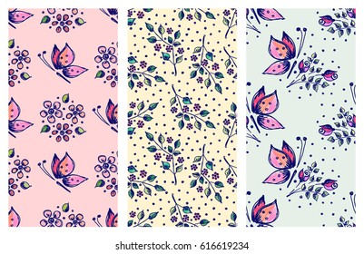 Vector set of seamless floral pattern with butterflies, flowers, leaves, decorative elements Hand drawn contour lines and strokes Doodle sketch style, graphic vector drawing illustration