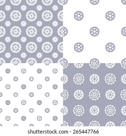 Vector set of seamless gear patterns. Various technical backgrounds of gear silhouettes.
