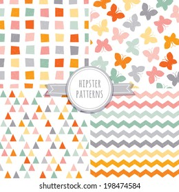 Vector set of seamless hipster background patterns in orange, pink and gray with butterflies, triangles, chevrons and polygons.