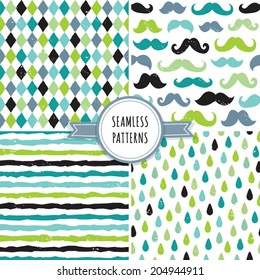 Vector set of seamless hipster backgrounds in blues and greens. Rough hand drawn patterns with argyle, mustaches, raindrops and stripes.
