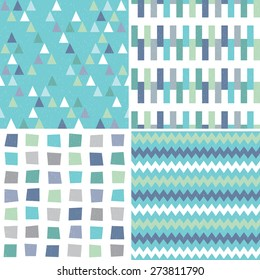 Vector set of seamless hipster geometric backgrounds in aqua blue and green, with triangles, chevrons and polygons. Masculine patterns, grunge overlay for gift wrapping paper, textiles, scrapbooking.