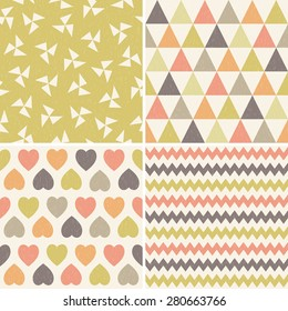 Vector set of seamless hipster geometric background patterns with triangles, chevrons, hearts and polygons. For gift wrapping paper, textiles, scrapbooking, baby. Light grunge overlay.