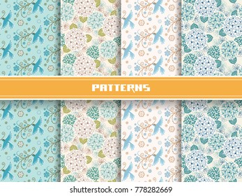 Vector set of seamless pattern with flowers, leaves. Flying bird with blooming branch in beak. Ornamental illustration for print and web