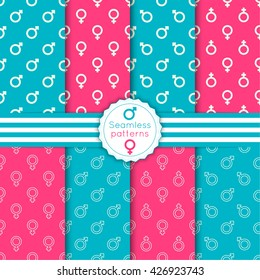 Vector set seamless pattern with male and female symbols, banner and ribbon. Repeating geometric texture.
