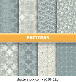 Vector set of seamless pattern with mesh of linear relief shapes. Grey geometric backgrounds collection. Decorative  illustration for print, web