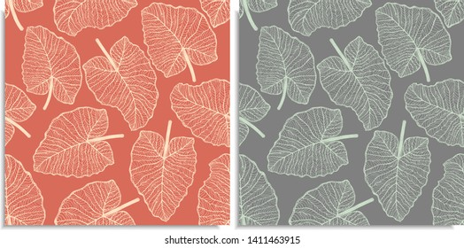 Vector set of a seamless pattern with sprigs of jungles leaves. Hand-drawn on sheet at the graphic style. Lines, compound path. Nice color shades. Elephant Ears, Alocasia, Colocasia, Xanthosoma leaf