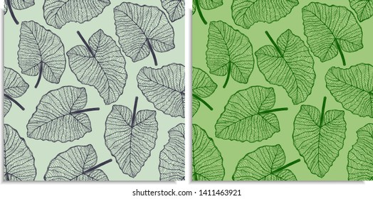 Vector set of a seamless pattern with sprigs of jungles leaves. Hand-drawn on sheet at the graphic style. Lines, compound path. Green color shades. Elephant Ears, Alocasia, Colocasia, Xanthosoma leaf
