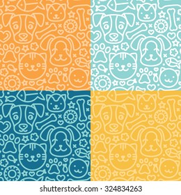 Vector set of seamless patterns and backgrounds with trendy linear icons related to pets and animals - abstract backgrounds for pet shop websites and prints