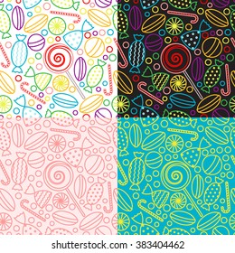 Vector set of seamless patterns with candies. Backgrounds with candy icons in trendy linear style. templates for packaging for sweets, candies and dessert.