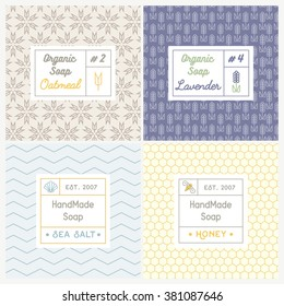 Vector set of seamless patterns for handmade soap. Linear design templates for most popular soap recipes: milk and honey, oat, lavender and sea salt. With their symbols: shell, bee, flower and ear.