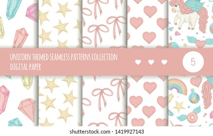 Vector set of seamless patterns with magic colored crystals, stars, bows, hearts, unicorns, rainbow isolated on white background. Cute watercolor style repeat backgrounds. Sweet girlish illustration