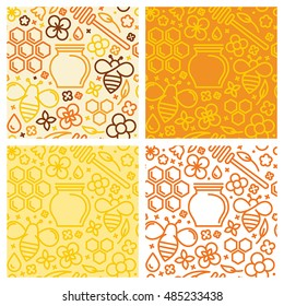 Vector set of seamless patterns and packaging design templates with icons in trendy linear style - natural and farm honey