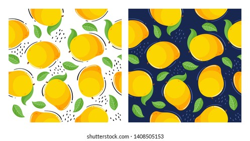 Vector set of seamless patterns. Pattern of mango, leaves and dots. White and dark blue background.