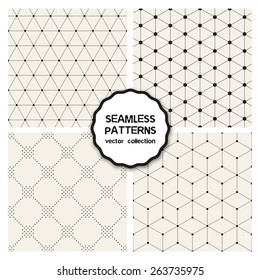 Vector set of seamless patterns. Repeating geometric tiles. Collection of minimalistic textures. Hexagons, triangles and rhombuses from circles. Dotted regular simple prints. Modern graphic design.