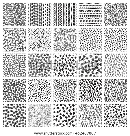 vector set seamless patterns sketch backgrounds stock vector