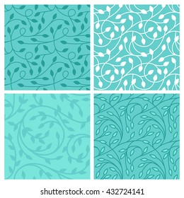 Vector set of seamless patterns in trendy linear style with leaves - backgrounds for websites and packaging for cosmetics products, florists, wedding invitations