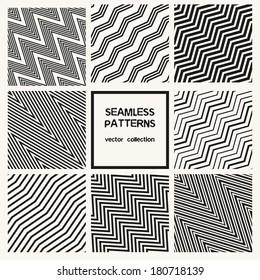 Vector set of seamless patterns. Zig zag diagonal patterns. Striped monochrome textures.