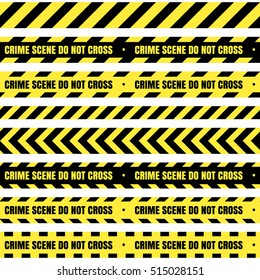 Vector set of seamless tapes. For restriction and dangerous zones.Yellow and black.