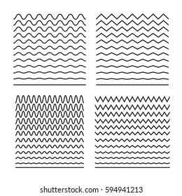 Vector set of seamless wavy lines good for brushes, halftone patterns, tiling sea textures, sinusoids, equalizers, backgrounds. Abstract curvy lines, zigzag, criss cross. Horizontal wrapping elements