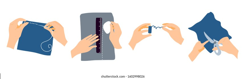 Vector set of seamstress hands. The hands of a man who sews, draws on a lazy cloth, unwinds blue threads, cuts fabric. Illustration for sewing courses, learning site, poster with master classes.