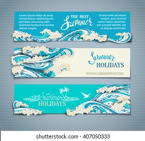 Vector set of sea/ocean horizontal banners. Paper ship, starfish, seagulls and waves. Summer holidays. The best summer. Hand-drawn illustration. There is place for your text on coloured background.