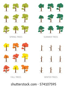 Vector set of seasonal trees
