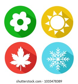 Vector Set of Seasons Icons. Winter, Spring, Summer, Autumn.