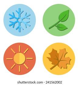 Vector Set of Seasons Icons. Winter, Spring, Summer, Autumn.