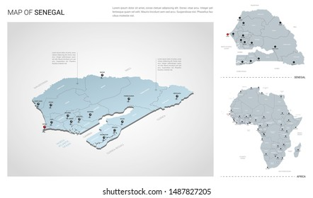 Vector set of Senegal country.  Isometric 3d map, Senegal map, Africa map - with region, state names and city names.
