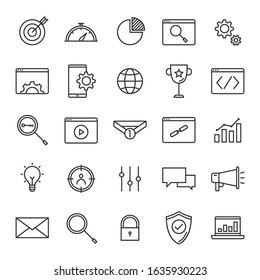 Vector set of seo search engine optimisation line icons design, contains such icons as target, performance, browser, mobile, keyword, video, link, advertising, analytics and more