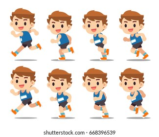 Vector set of separated frames of running man, animation, motion isolated on white background.