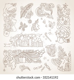 Vector set of sepia hand-drawn Christmas ornaments. Vintage Christmas tree and baubles, Santa sock, hat and beard, holly berries, gifts, candy canes, snowman, gingerbread man, deer, stars, candle.