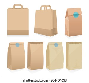 Vector set of seven recyclable brown paper bags in different shapes, some with handles, some open, some sealed with stickers for shopping and packaging